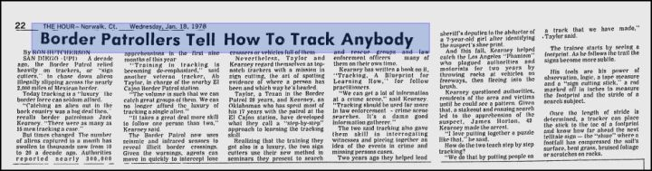 """Border Patrollers tell how to track anybody"" [1978]."